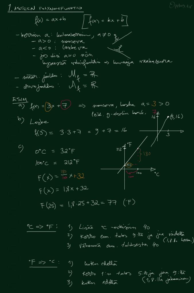 Ensimmäisen asteen polynomifunktio, osa 1/2