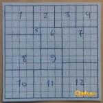 Yksi ratkaisu 12 neliöllä (monia muita mahdollisia myös)