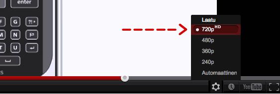 Youtube HD -valinta